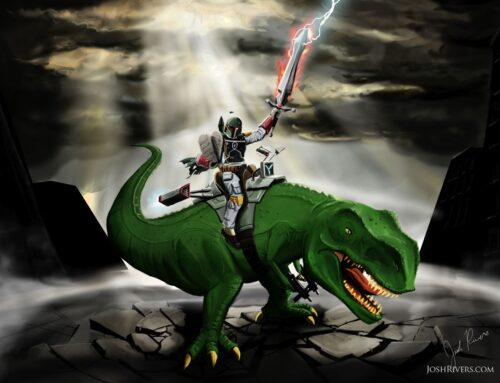 Boba Fett on a T Rex